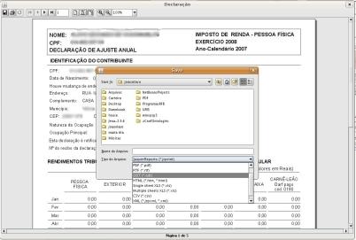 IRPF 2008 - Salvando em outros formatos